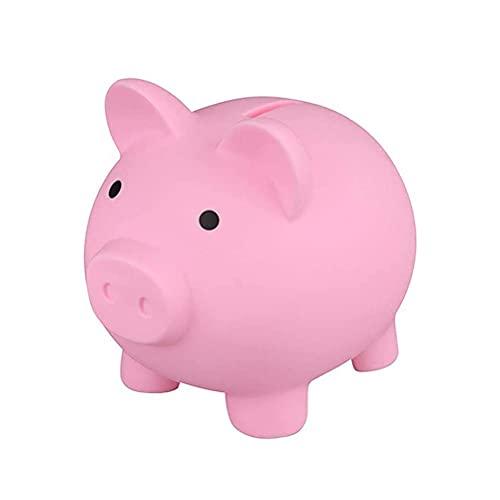 Gwteop 1 Hucha de plástico de cerdo de cerdo de plástico de cerdo, caja de dinero de plástico para guardar monedas para niños y niñas y adultos (rosa)