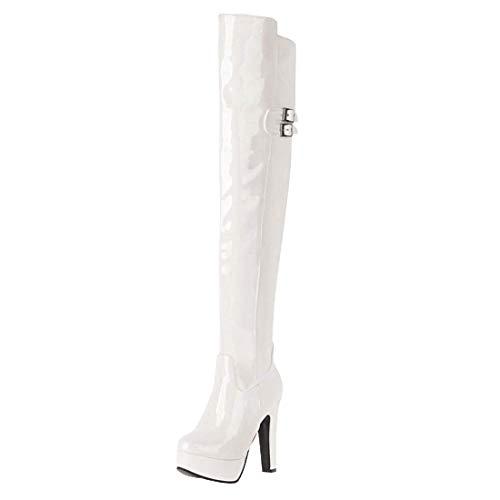 Overknee Stiefel Lack Plateau High Heels Boots mit 12cm Absatz und Reißverschluss Winter Schuhe(Weiß,44)