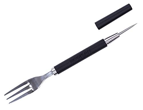 SMKR Basics TAROR 2 in 1 Gabel und Lochstecher zum Kopf bauen | Shisha Gabel Stecher Fork für Wasserpfeife | Tabak Kopf Phunnel Zubehör Folienstecher - Tabakgabel (Schwarz)