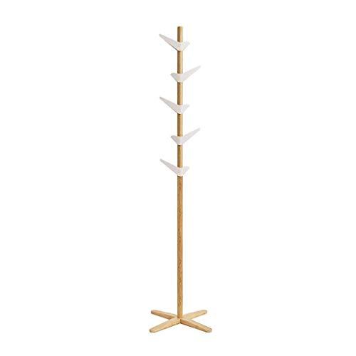 JSMY Perchero Perchero de bambú Moderno y Simple Perchero de Madera Maciza Perchero para Dormitorio Sala de Estar Perchero Soporte 5 Ganchos ASB Puede ser Perchero de rotación 360(Color:Color Pri