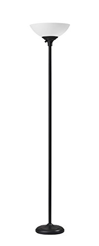 Adesso 7506-01 Glenn 300W Torchiere, 71 in, 2 x 150 W Incandescent/equiv. LED, Black, 1 Floor Lamp