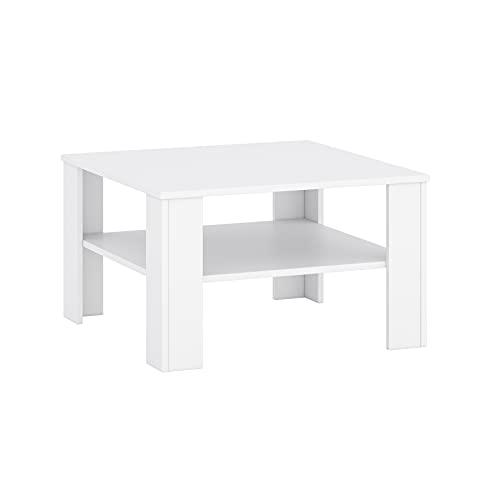 Tavolino da salotto, 68 x 68 x 41 cm, con ripiano (bianco)