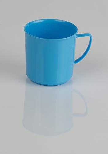 Kimmel Henkelbecher Henkeltasse Teetasse Kaffeebecher Mehrweg bruchsicher 180 ml, Kunststoff, Hellblau