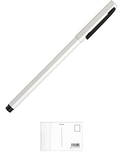 ゼブラ フォルティアem. エマルジョンボールペン ホワイト BA98-W 【× 2 本 】 + 画材屋ドットコム ポストカードA