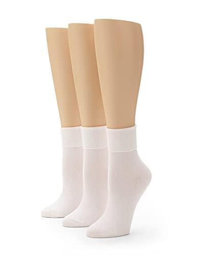 No Nonsense Women's Cotton Basic Cuff Sock 3-Pack, White, 4-10