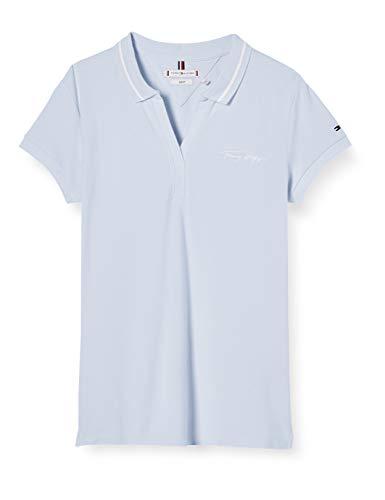 Tommy Hilfiger Bonny Slim Polo SS Camisa, Azul (Bliss Blue), S para Mujer