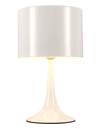 Lámpara de noche elegante moderna lámpara de escritorio de metal mesa redonda blanca luz E27 llama sin bombilla para escritorio, lectura estudio, habitación de niños, sala de estar