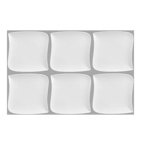 Set De 6 Assiettes Plates Carrée Design Vague - 26 Cm X 26 Cm - Porcelaine