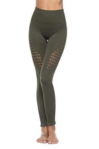 Pantalones de Yoga Malla sin Costuras Hollow Sports Yoga Pants Fitness Leggings Leggings-Army Green_S / M