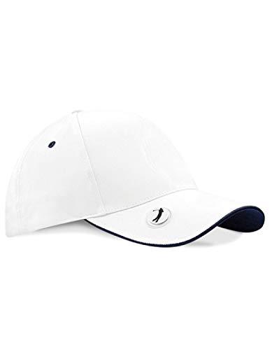 Beechfield Unisexe B185. Whi-fna Professionnelle marqueur de Balle de Golf Capuchon, Blanc/Bleu Marine, Taille Unique
