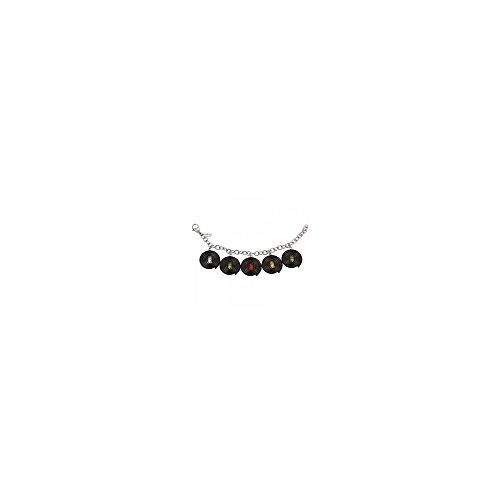 Pulsera de acero con 5 Haribo regaliz ruedas y ositos de goma