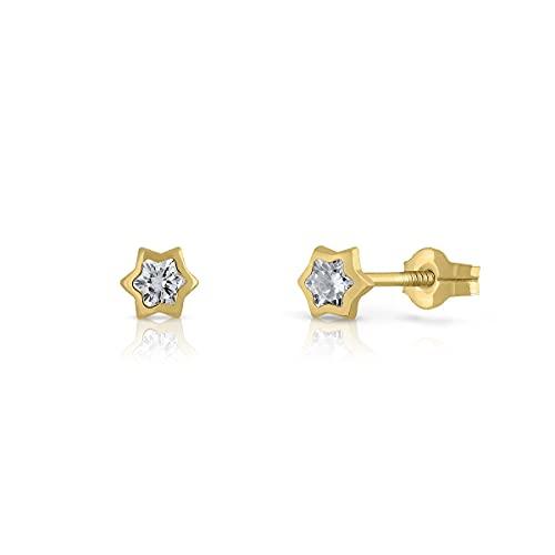 Pendientes Oro de Ley Certificado. Niña/Mujer. Diseño Estrella. Cierre de presión. Medida 3 mm. (4-CH-E-3)