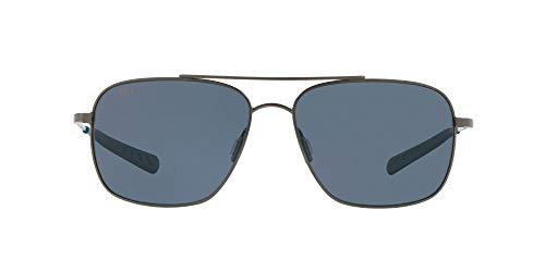 Costa Del Mar Men's Canaveral Round Sunglasses, Brushed Grey/Grey Polarized 580P, 59 mm -  CAN 185 OGP