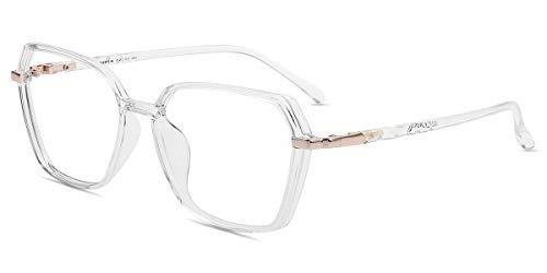 Firmoo Gafas Luz Azul para Mujer Hombre, Gafas Filtro Antifatiga Anti-luz Azul y contra UV400 Ordenador de Gafas Montura TR90 para Protección los Ojos, S0121 Transparentes Polígono