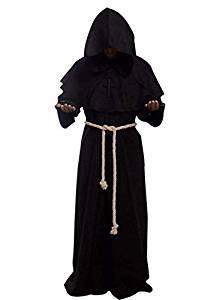 chen Halloween Cowl Robe Hooded Monk Robe Kostuum Volwassen Mantel Zwarte Dood Wizard Robes Suit, Beste Halloween Decoratie Prop