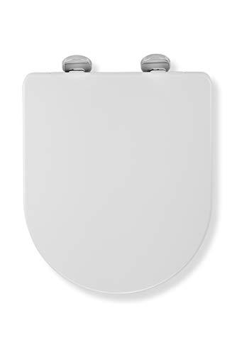 Croydex Flexi-Fix Augen-D-Form passt Immer und rutscht nie ab, antibakterieller Toilettensitz, Plastik, weiß, 42 x 35.5 x 5 cm