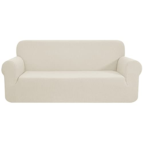 CHUN YI Stretch Loveseat Sofa Slipcover 1-Piece Couch Cover, 2 Seater Settee Coat Soft with Elastic Bottom, Checks Spandex Jacquard Fabric,Medium,Ivory White