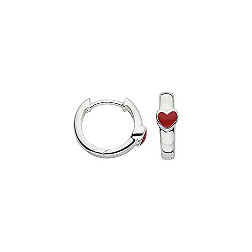 BCR905334 - Pendientes de aro (plata 925 rodiada, lacado), color rojo