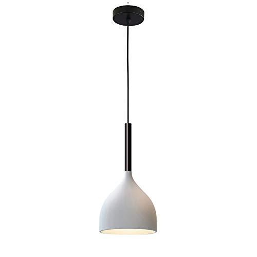 HJXDtech suspension nordique avec ampoule LED, lampe suspendue en aluminium bois simple moderne, luminaire de plafond E27 Loft pour cuisine salon salle à manger (Blanc)