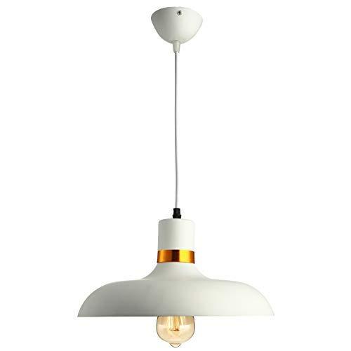 GYC Iluminación de Techo Vintage Lámpara Colgante Lámpara de 12.6 Pulgadas de Ancho Metal Blanco para casa Loft Sala de Estar Bar Restaurantes Cafetería Club