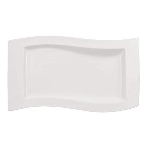 Villeroy & Boch NewWave Servierplatte, eckiger Servierteller, mit geschwungenen Linien, Premium Porzellan, spülmaschinengeeignet, weiß, 49 x 30 cm