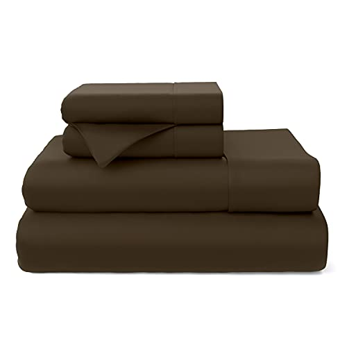 Cosy House Collection Premium Bamboo Sheets - Deep Pocket Bed Sheet Set - Ultra Soft & Cool Bedding - Hypoallergenic Blend from Natural Bamboo Fiber - 4 Piece - (Queen, Chocolate)
