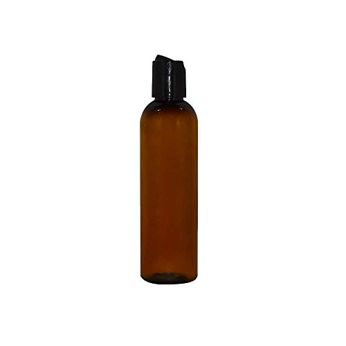 WM (Pack of 12) 4 oz Amber Cosmo Empty Bottles - Refillable Plastic Container with Press Disc Dispenser - PET Plastic for Travel, Oils, Soap, Shampoo, Lotion, Aromatherapy (4 oz, Amber)
