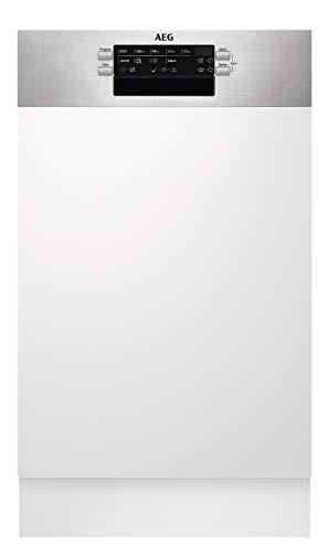 AEG FES6241AZM Integrierter-Geschirrspüler / 45cm / AirDry - ideale Trocknungsergebnisse /Effizienzklasse E/energiesparend/ Besteckkorb/Beladungserkennung/Display/Startzeitvorwahl/Wasserstopp/extra
