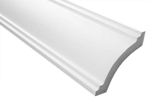 Zierleisten Sparpaket E-26 | leicht und stabil | extrudiertes Styropor | Stuckprofile | Decken-/ und Wandübergang | modern weiß | dekorativ | XPS | 73 x 79 mm | 20 Meter