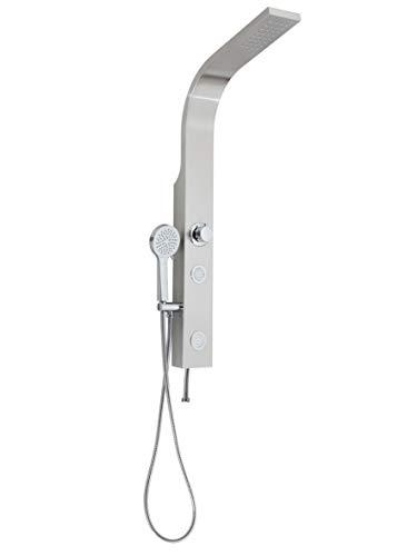 SCHÜTTE Sansibar 60085 Edelstahl Duschpaneel ohne Armatur, Duschsystem mit Regendusche, Wandhalterung und Handbrause, Komplettes Duschbrause Set für die Dusche