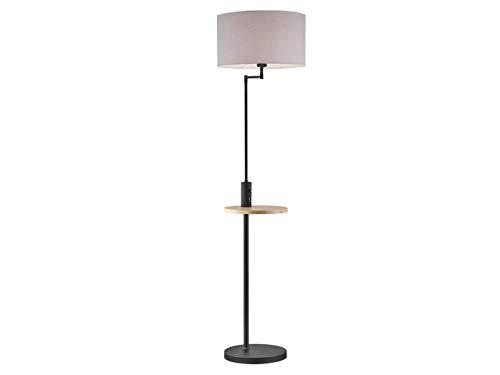LED-vloerlamp met grijze stoffen kap - inclusief geïntegreerde tafel- en USB-aansluiting met oplaadfunctie