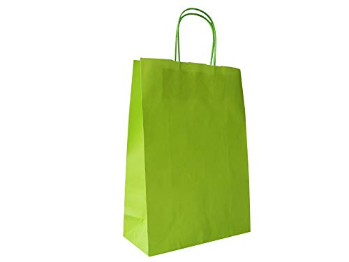 Carte Dozio S.r.l. - Shopper in Kraft color Verde Acido, maniglia ritorta, f.to 23+10 x 32, cf 25 pz