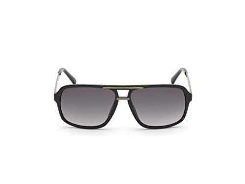 Guess GU-6955-S 01B - Gafas de sol, color negro brillante y plateado oscuro