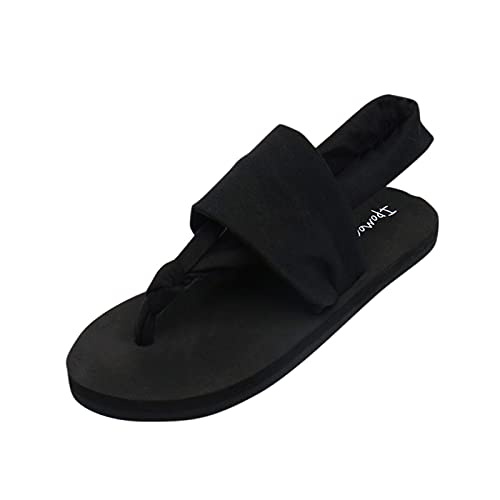 URIBAKY - Sandalias para mujer, color liso, zapatillas de tela, con suela suave, sandalias planas, zapatos de playa, Negro (Negro ), 39 EU