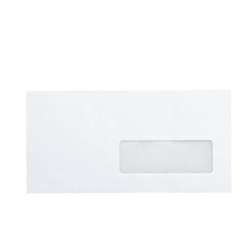 lot de 50 Petite Enveloppe Courrier DL avec fenêtre - papier velin blanc format 110 x 220 mm une enveloppe blanche avec fermeture bande adhésive autocollante siliconée