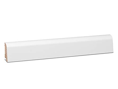 KGM Sockelleiste Schlossberger Profil – Fußbodenleiste Fichte Massivholz weiß foliert – Maße: 2500 x 18 x 45 mm – 1 Stück
