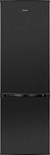 Bomann KG 184 Kühl-Gefrierkombination/A+++/ 180 cm Höhe / 130 kWh/Jahr/stufenlose Temperaturregelung / 198 Liter Kühlteil / 66 Liter Gefrierteil/schwarz-inox