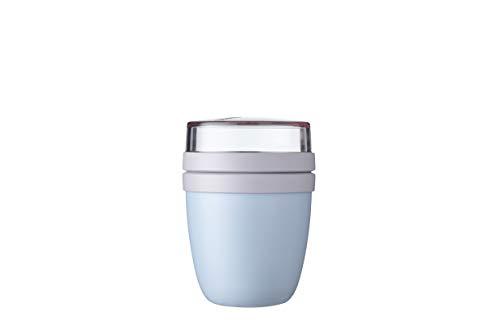 Mepal Lunchpot Ellipse Mini Blue-Vaso de Cereales de 300 ml, para Yogur, Apto para congelador, microondas y lavavajillas, Polipropileno, Azul nórdico, 470 ml