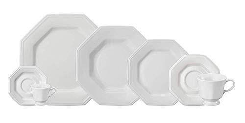 Serviço de Jantar Chá Café 42 peças em Porcelana. Modelo Octogonal Prisma. Branca. Fabricado pela Schmidt.