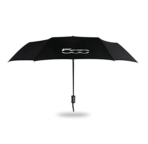 MENGHAN ChengChengWangDian 1 unids Totalmente Plegable Plegable Paraguas a Prueba de Viento Apto para la sombrilla portátil del Coche de Fiat 500 con el Logotipo del Auto Sombrilla de la Playa Auto