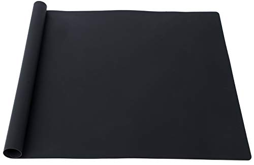 KimTin Extra Large Multipurpose Silicone Nonstick Pastry Mat, Countertop Protector Clay Mat No-slip Non Stick,Heat Resistant Table Mat, 23.6  15.75   (Black)