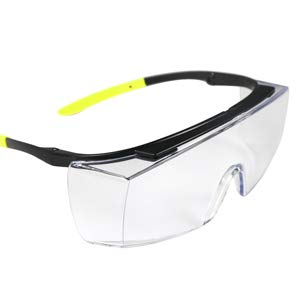 BHTOP Safety GlassesClear Anti-Fog Goggles Over-Spec Glasses Protective Eye Wear Industrial Approved Wide-Vision For Work, Lab, Construction
