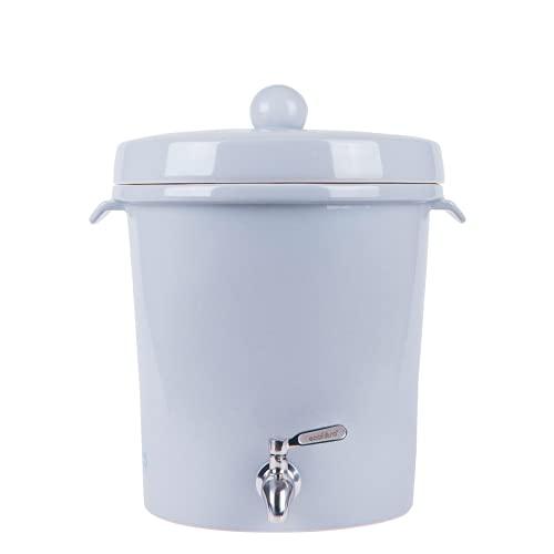 Ecofiltro Purificador Dispensador y Filtro de Agua Cerámica Mediano (8 L) Gris Solido Ecológico con Carbón Activado para Decoración de Casa, Oficina y Cocina...