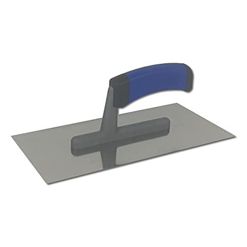 DEWEPRO® Glättekelle - Glättkelle - Glattkelle - Traufel mit Edelstahlblatt - 270x130 mm - Glätter - Aufziehglätter mit 2-K Griff
