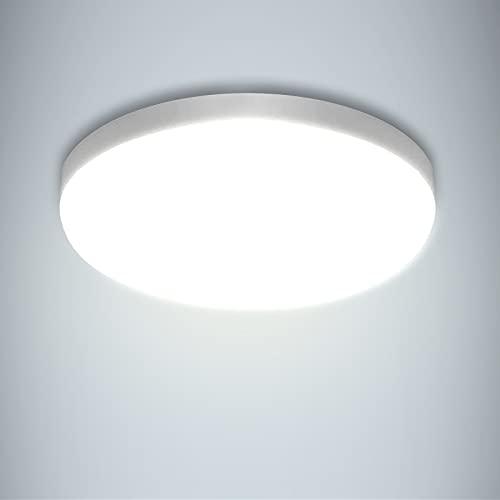 Yafido Plafoniera a LED Impermeabile IP56 30W 2400LM Bianco Freddo 6500K Luci del Bagno Facile da Istallare Lampada da Soffitto per Cucina Camera da Letto Corridoio Balcone Esterno Ø25CM