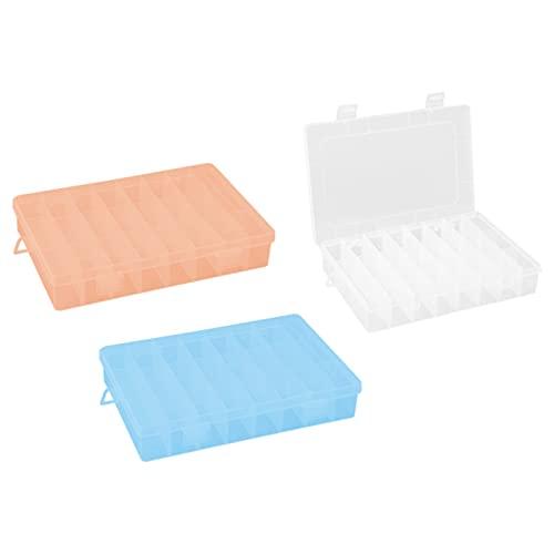 Bncxdc boîte à bijoux transparente, organisateur de bijoux en plastique, boîte de rangement 3PCS à 24 compartiments avec séparateurs réglables Conteneur transparent pour boucles doreilles