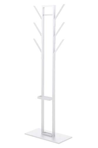 Statische witte metalen kapstok met bijhorende parapluhouder