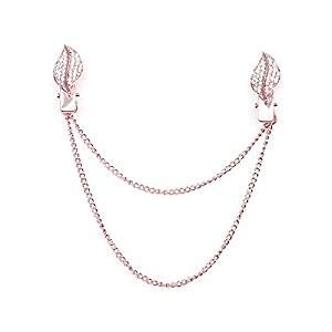 Treend24 Damen Kragenclip Feder Rosegold Vintage Cardigan Clip Bekleidung Brosche Poncho Clips Textilschmuck Love