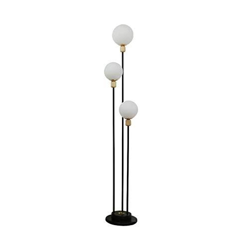 YLSH Duurzame vloerlamp Moderne eenvoudige vloerlamp slaapkamer woonkamer Bedside-vloerlamp smeedijzeren ronde glas rotan lampshade vloerlamp staande lamp