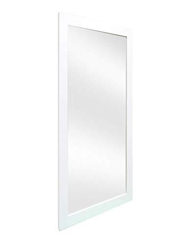 Chely Intermarket - Espejo de Pared Cuerpo Entero 35x100 cm (Marco Exterior 42x107cm) (Blanco) MOD-128 | Forma Rectangular para salón, recibidor, Dormitorio, Acabado Elegante